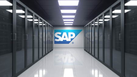 SAP SE logo on the wall of the server room. Editorial 3D rendering