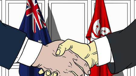 Businessmen or politicians shake hands against flags of Australia and Hong Kong. Official meeting or cooperation related cartoon illustration Stock Photo