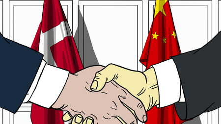 Businessmen or politicians shake hands against flags of Denmark and China. Official meeting or cooperation related cartoon illustration
