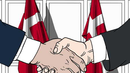 Businessmen or politicians shake hands against flags of Denmark. Official meeting or cooperation related cartoon illustration