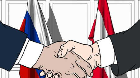 Businessmen or politicians shake hands against flags of Russia and Austria. Official meeting or cooperation related cartoon illustration Banque d'images - 101423084