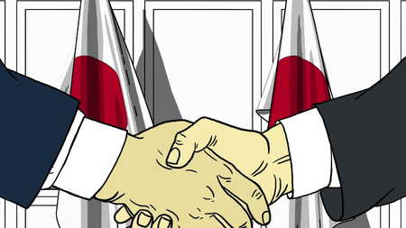 Businessmen or politicians shaking hands against flags of Japan. Meeting or cooperation related cartoon illustration Stock Photo