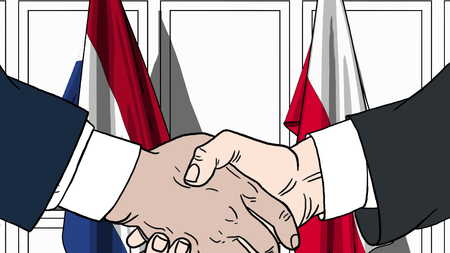 Businessmen or politicians shake hands against flags of Netherlands and Poland. Official meeting or cooperation related cartoon illustration