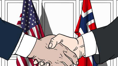 Businessmen or politicians shake hands against flags of USA and Norway. Official meeting or cooperation related cartoon illustration Stock Photo