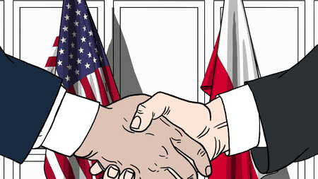 Businessmen or politicians shake hands against flags of USA and Poland. Official meeting or cooperation related cartoon illustration Stock Photo