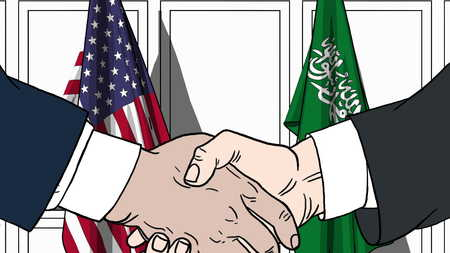 Businessmen or politicians shaking hands against flags of USA and Saudi Arabia. Meeting or cooperation related cartoon illustration