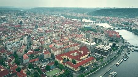 High altitude aerial shot of Prague townscape, the Czech Republic 免版税图像