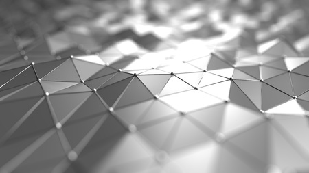 Futuristic technology related silver polygonal background. 3D rendering