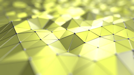 Yellow polygonal background 3D rendering