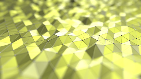 Abstract yellow polygonal surface. 3D rendering