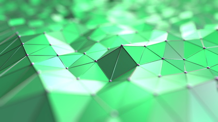Abstract green polygons. 3D rendering Stock Photo