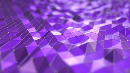 Purple polygonal waves. 3D rendering