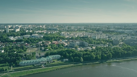 Aerial view of Lake Malta and Poznan citycape, Poland