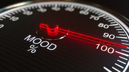 Mood meter or indicator 3D rendering