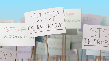 STOP TERRORISM placards at street demonstration. Conceptual 3D rendering 免版税图像