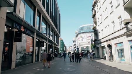 POZNAN, POLAND - MAY 20, 2018. Crowded pedestrian street