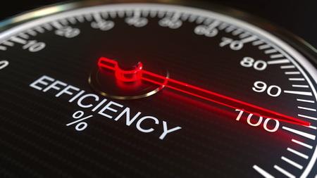 Efficiency meter or indicator. 3D rendering 스톡 콘텐츠