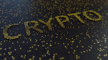 CRYPTO word made of moving golden numbers. 3D rendering