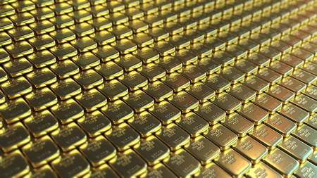 Fine gold bars. 3D rendering
