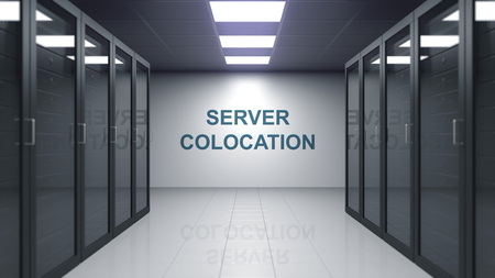 SERVER COLOCATION caption on the wall of a server room. Conceptual 3D rendering