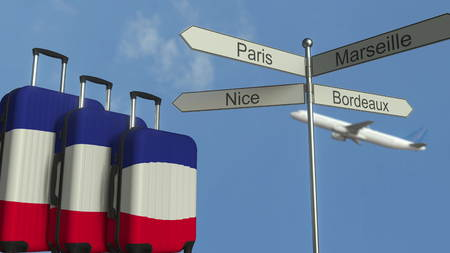 Travel baggage featuring flag of France, airplane and city sign post. French tourism conceptual 3D rendering