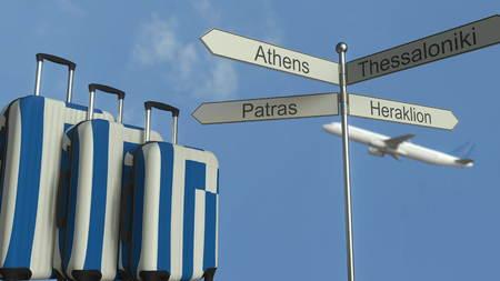 Travel baggage featuring flag of Greece, airplane and city sign post. Greek tourism conceptual 3D rendering Stock Photo