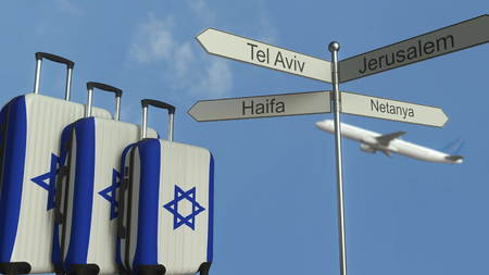 Travel baggage featuring flag of Israel, airplane and city sign post. Israeli tourism conceptual 3D rendering