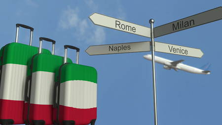 Travel baggage featuring flag of Italy, airplane and city sign post. Italian tourism conceptual 3D rendering