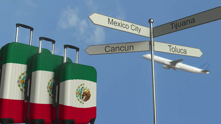 Travel baggage featuring flag of Mexico, airplane and city sign post. Mexican tourism conceptual 3D rendering Stock Photo