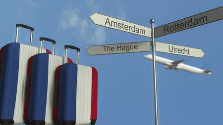 Travel baggage featuring flag of the Netherlands, airplane and city sign post. Dutch tourism conceptual 3D rendering