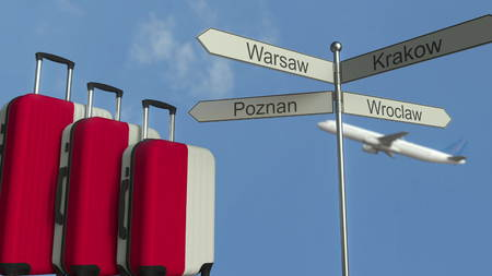 Travel baggage featuring flag of Poland, airplane and city sign post. Polish tourism conceptual 3D rendering