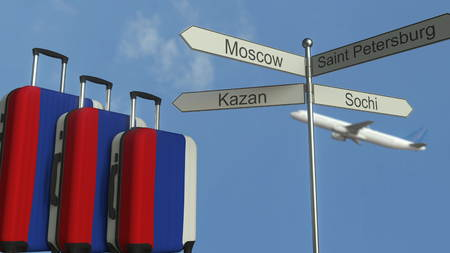 Travel baggage featuring flag of Russia, airplane and city sign post. Russian tourism conceptual 3D rendering