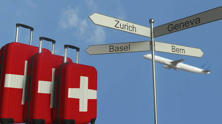Travel baggage featuring flag of Switzerland, airplane and city sign post. Swiss tourism conceptual 3D rendering