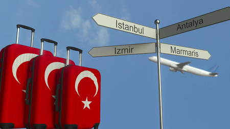 Travel baggage featuring flag of Turkey, airplane and city sign post. Turkish tourism conceptual 3D rendering