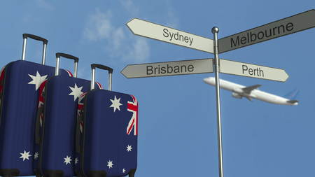 Travel baggage featuring flag of Australia, airplane and city sign post. Australian tourism conceptual 3D rendering