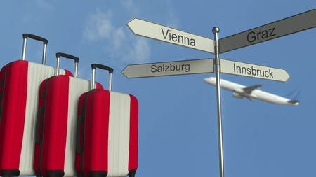 Travel baggage featuring flag of Austria, airplane and city sign post. Austrian tourism conceptual 3D rendering