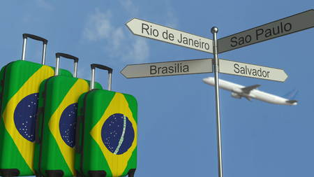 Travel baggage featuring flag of Brazil, airplane and city sign post. Brazilian tourism conceptual 3D rendering