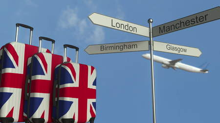 Travel baggage featuring flag of Great Britain, airplane and city sign post. British tourism conceptual 3D rendering