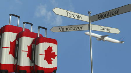 Travel baggage featuring flag of Canada, airplane and city sign post. Canadian tourism conceptual 3D rendering 写真素材