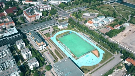 Aerial view of a small stadium in Poznan, Poland Stock Photo