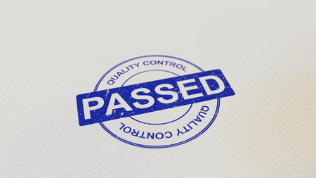 QUALITY CONTROL PASSED stamp 3D rendering