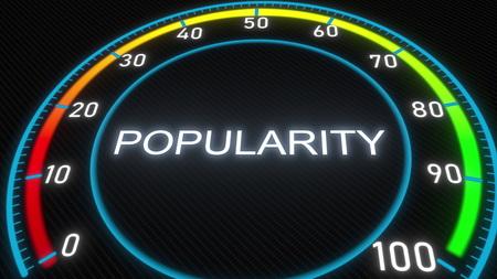 Popularity futuristic meter or indicator. Conceptual 3D rendering