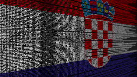 Program code and flag of Croatia. Croatian digital technology or programming related 3D rendering 스톡 콘텐츠