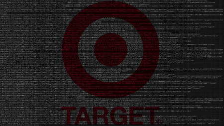 Target logo made of source code on computer screen. Editorial 3D rendering