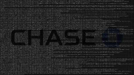 JPMorgan Chase Bank logo made of source code on computer screen. Editorial 3D rendering