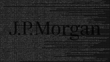 JPMorgan logo made of source code on computer screen. Editorial 3D rendering Publikacyjne