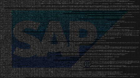 SAP SE logo made of source code on computer screen. Editorial 3D rendering