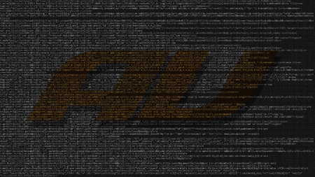 au mobile phone company logo made of source code on computer screen. Editorial 3D rendering