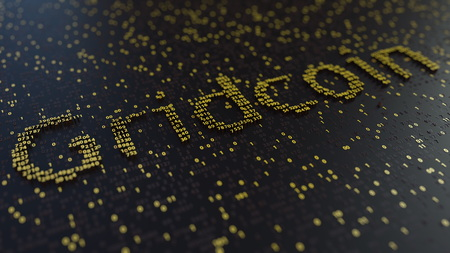 Gridcoin word made of golden numbers. 3D rendering Imagens