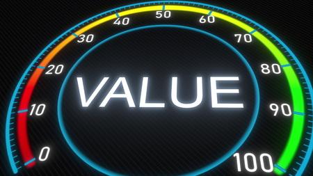Value futuristic meter or indicator. Conceptual 3D rendering